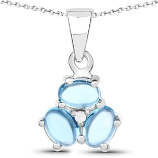 Malaika Malaika Sterling Silver 2 1/10ct Swiss Blue Topaz and Diamond Accent Pendant