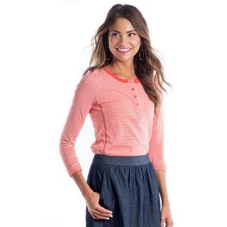 DownEast Basics Women's Striped Henley Tee