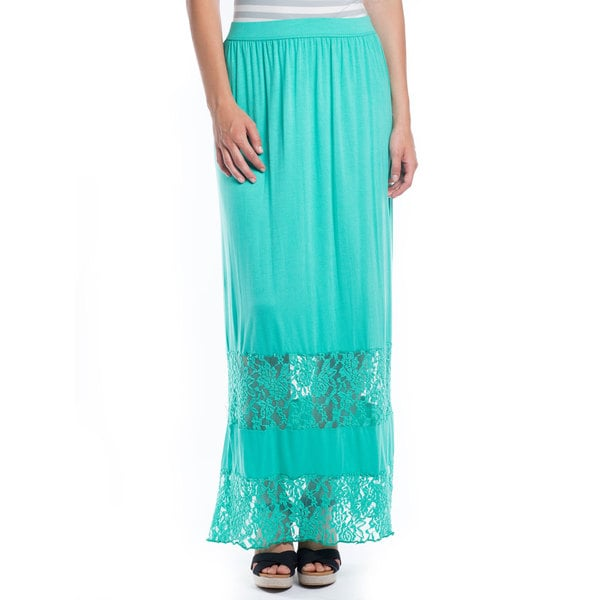 DownEast Basics Women's Lace Yoke Maxi Skirt