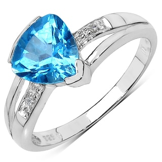 Malaika Sterling Silver 2ct Swiss Blue Topaz and Diamond Accent Ring