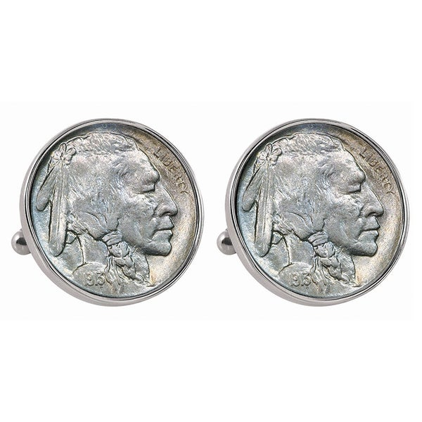 American Coin Treasures 1913 First-Year-of-Issue Buffalo Nickel Silvertone Bezel Cufflinks 15780135
