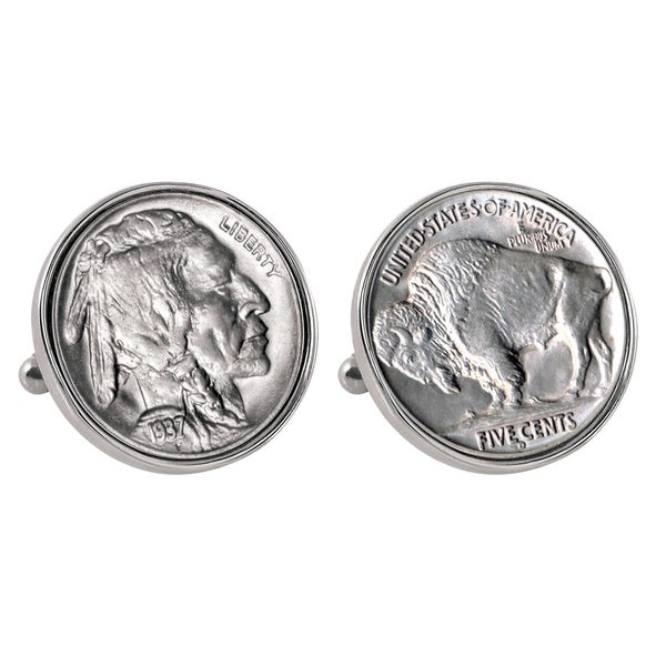 American Coin Treasures Buffalo Nickel Silvertone Bezel Cufflinks 15780183