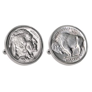 American Coin Treasures Buffalo Nickel Silvertone Bezel Cufflinks