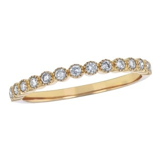 Beverly Hills Charm 10k Gold 1/4ct TDW Diamond Anniversary Stackable Milgrain Band (H-I, I2-I3)