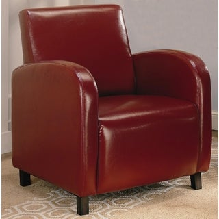 Curved Arm Red Upholstered Accent Chair