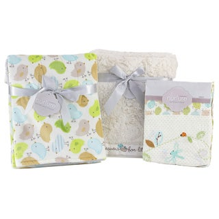 Nurture Imagination Nest Birdies Blankets and Embroidery Crib Sheet Bundle