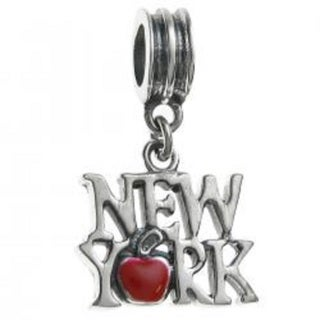 Queenberry Sterling Silver Red 'New York City the Big Apple' Dangle European Bead Charm