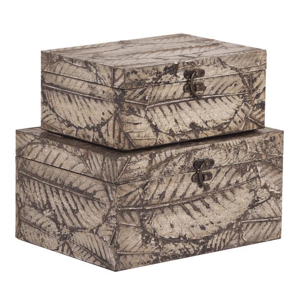 Leaf Textured Wood Box Set