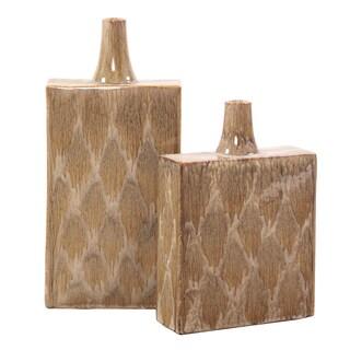 Mocha and Cream Dripped Tall Ceramic Vase