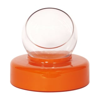 Orange Large Opaque Glass Round Base with Clear Hand Blown Glass Vase