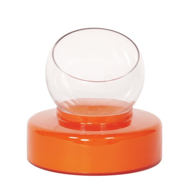 Orange Small Opaque Glass Round Base with Clear Hand Blown Glass Vase