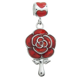 Queenberry Rhodium-plated Sterling Silver Red Enamel Rose Dangle European Bead Charm