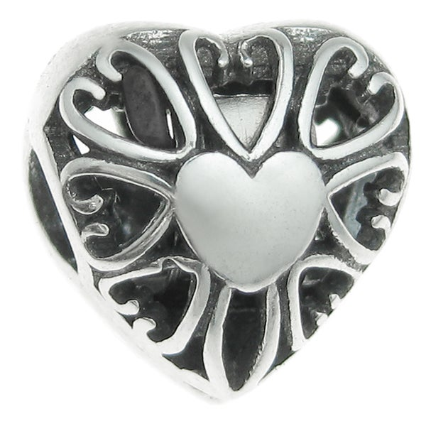 Queenberry Sterling Silver Heart Stopper Clip European Bead Charm
