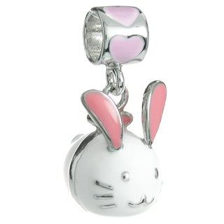 Queenberry Rhodium-plated Sterling Silver White Easter Rabbit Dangle European Bead Charm