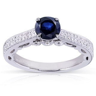 Annello 14k White Gold Round-cut Sapphire and 1/3ct TDW Diamond Engagement Ring (H-I, I1-I2)