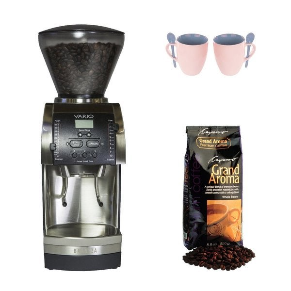 Baratza Vario 886 Flat Ceramic Coffee Grinder + 12-Ounce Mug/Spoon (2-pack) + Capresso Grand Aroma Coffee (8.8oz) Swiss Roast