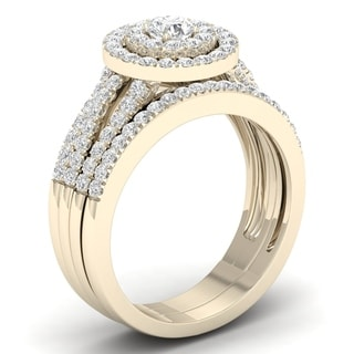 De Couer 10k Yellow Gold 1ct TDW Diamond Halo Engagement Ring Set (H-I, I2)