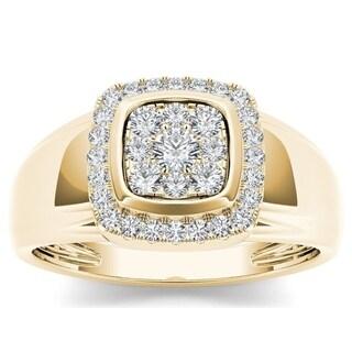 De Couer 10k Yellow Gold Men's 1/2ct TDW Diamond Men's Cluster Ring (H-I, I2)