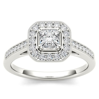 De Couer 14k White Gold 1/2ct TDW Diamond Vintage Halo Engagement Ring (H-I, I2)
