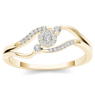 De Couer 10k Yellow Gold 1/8ct TDW Diamond Cluster Ring (H-I, I2)