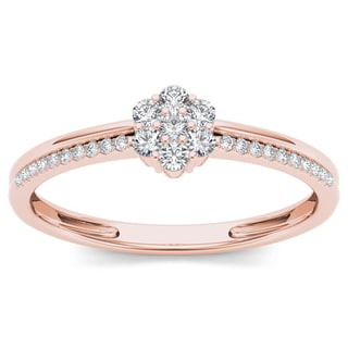 De Couer 10k Rose Gold 1/5ct TDW Diamond Cluster Fashion Ring (H-I, I2)