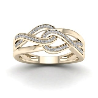 De Couer 10k Yellow Gold 1/6ct TDW Diamond Infinity Braided Ring (H-I, I2)