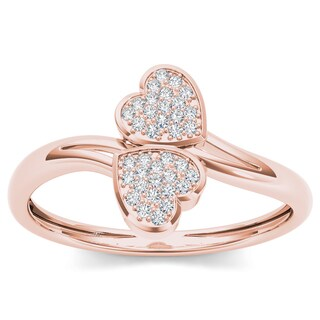 De Couer 10k Rose Gold 1/20ct TDW Diamond Two Heart Wrap Ring (H-I, I2)