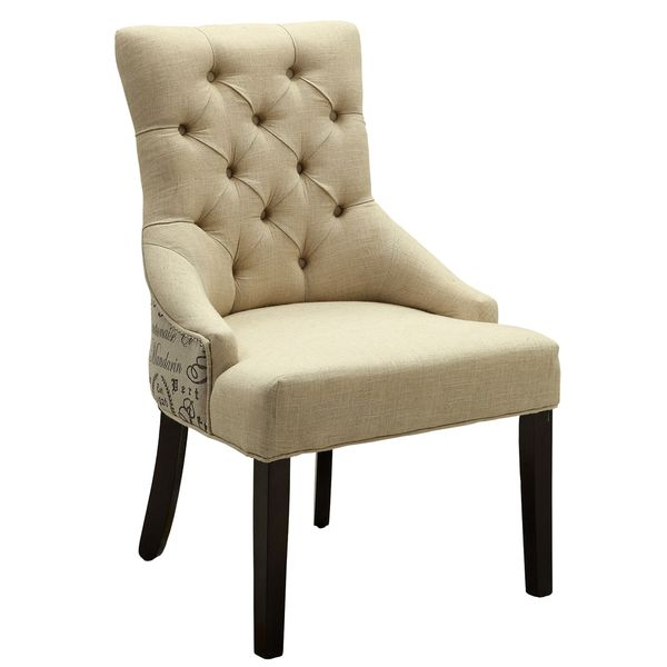 Print Design Button Tufted Accent Chair with Nail Head Trim