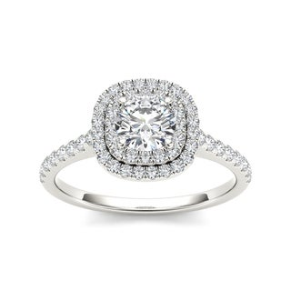 De Couer 14k White Gold 1 1/10ct TDW Diamond Halo Engagement Ring (H-I, I2)
