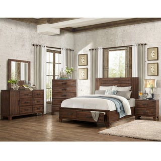 Lori Natural Wood Finish Contemporary Style Platform Storage 5-piece Bedroom Set