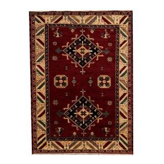 Herat Oriental Indo Hand-knotted Tribal Kazak Red/ Ivory Wool Rug (5'7 x 7'9)