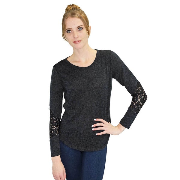 Women's Jacinthe Black Lace Sleeve Top