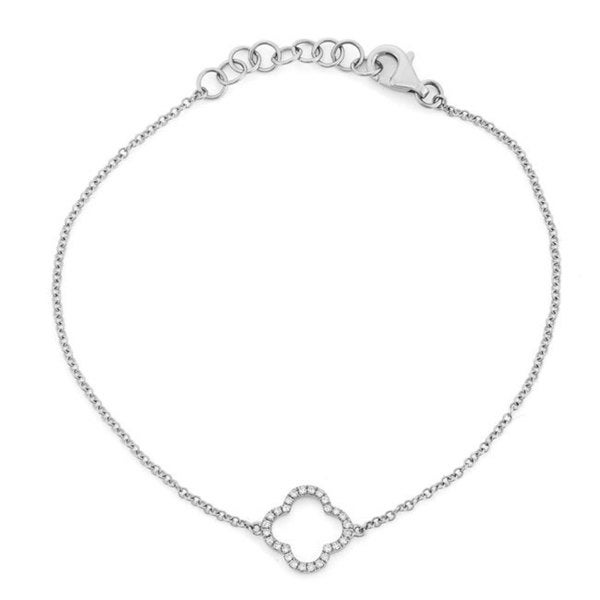 Sterling Silver Diamond Accent Open Clover Chain Bracelet