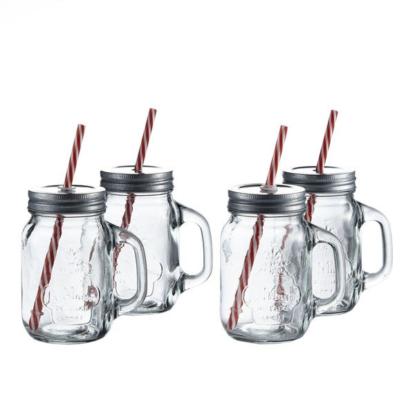 La Maison Mason Jars with Lid and Straw (Set of 4)