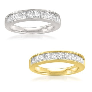 14k Yellow or White Gold 1ct TDW Princess-cut White Diamond Micro-Nick Channel Wedding Band (I-J, VS2)
