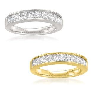 Montebello 14k Yellow or White Gold 1ct TDW Princess-cut White Diamond Micro-Nick Channel Wedding Band (I-J, VS2)