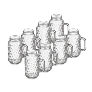 Quilted Mason Jars with Handles (Set of 8)