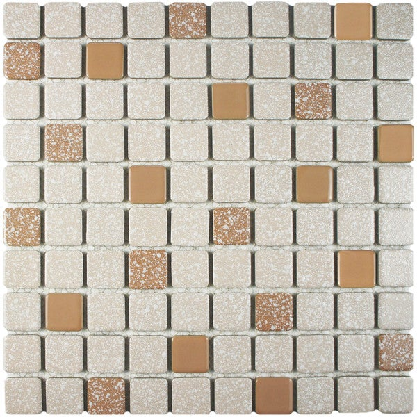 SomerTile 11.75x11.75-inch Scholar Beige Porcelain Mosaic Floor and Wall Tile (Case of 10)