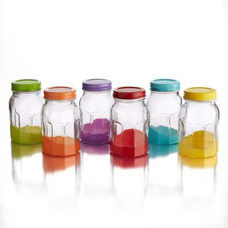 16-ounce Colored Jars with Lid (Set of 6)