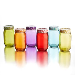 Colored Jars with Lid (Set of 6)