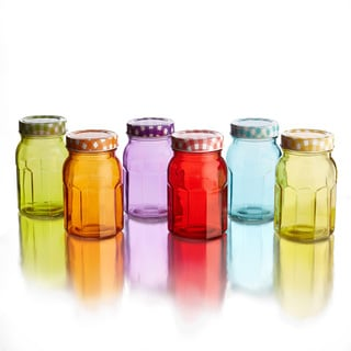 5.5-inch Colored Jars with Lid (Set of 6)