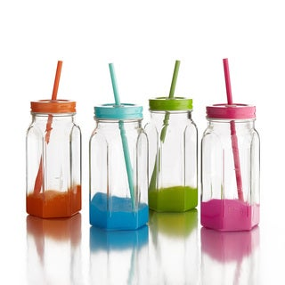 Colored Jar Mugs with Lid and Straw (Set of 4)