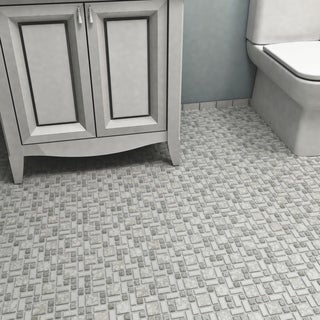 SomerTile 11.75x11.75-inch Collegiate Grey Porcelain Mosaic Floor and Wall Tile (Case of 10)
