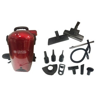 Red Crucial Vacuum Back Pack Vacuum and Blower/ Includes Many Attachment Tools/ Part # Kbp01/ By Crucial Vacuum