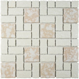 SomerTile 11.75x11.75-inch Collegiate Bone Porcelain Mosaic Floor and Wall Tile (Case of 10)