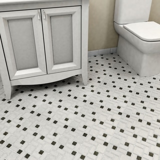 SomerTile 11.75x11.75-inch Collegiate White and Black Porcelain Mosaic Floor and Wall Tile (Case of 10)