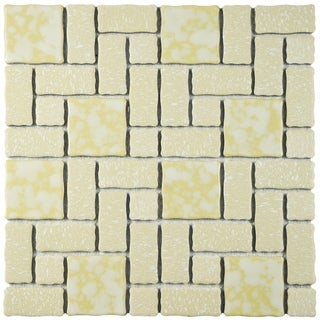 SomerTile 11.75x11.75-inch Collegiate Gold Porcelain Mosaic Floor and Wall Tile (Case of 10)