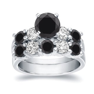 Auriya 14k White Gold 4ct TDW Round Cut Black Diamond Bridal Ring Set (SI2-SI3)