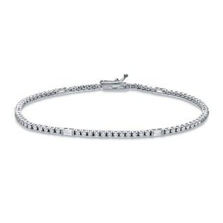 Auriya 18k White Gold 1 1/2ct TDW Round Diamond Tennis Bracelet (G-H, SI1-SI2)