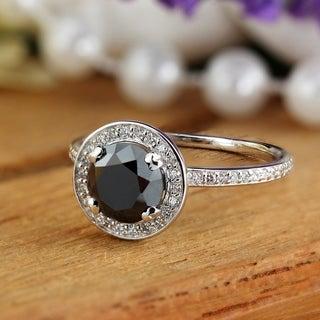 Auriya 18k White Gold 2 2/5ct TDW Black Diamond Halo Engagement Ring (Black, SI1-SI2)
